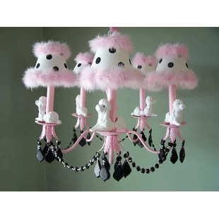 Fefe French Poodle 5-Light Shaded Chandelier