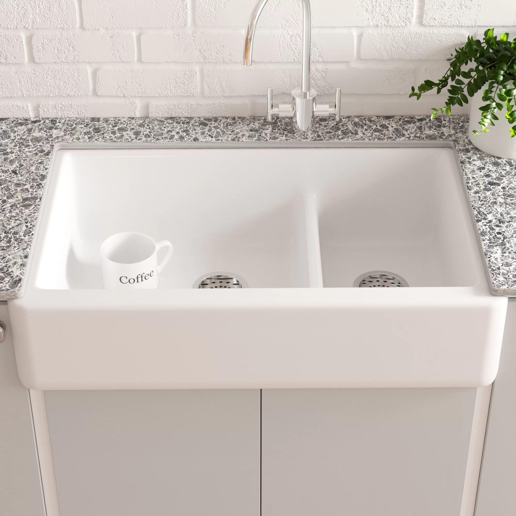 whitehaven smart divide 36 l x 22 w farmhouse double bowl kitchen sink with tall apron