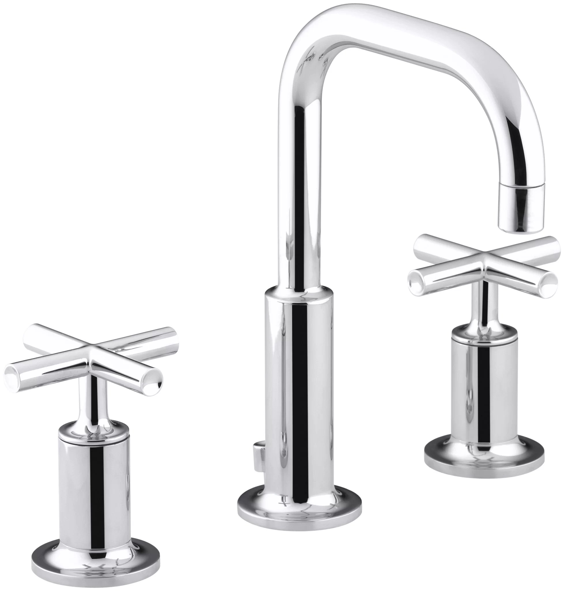 purist widespread bathroom faucet with drain assembly