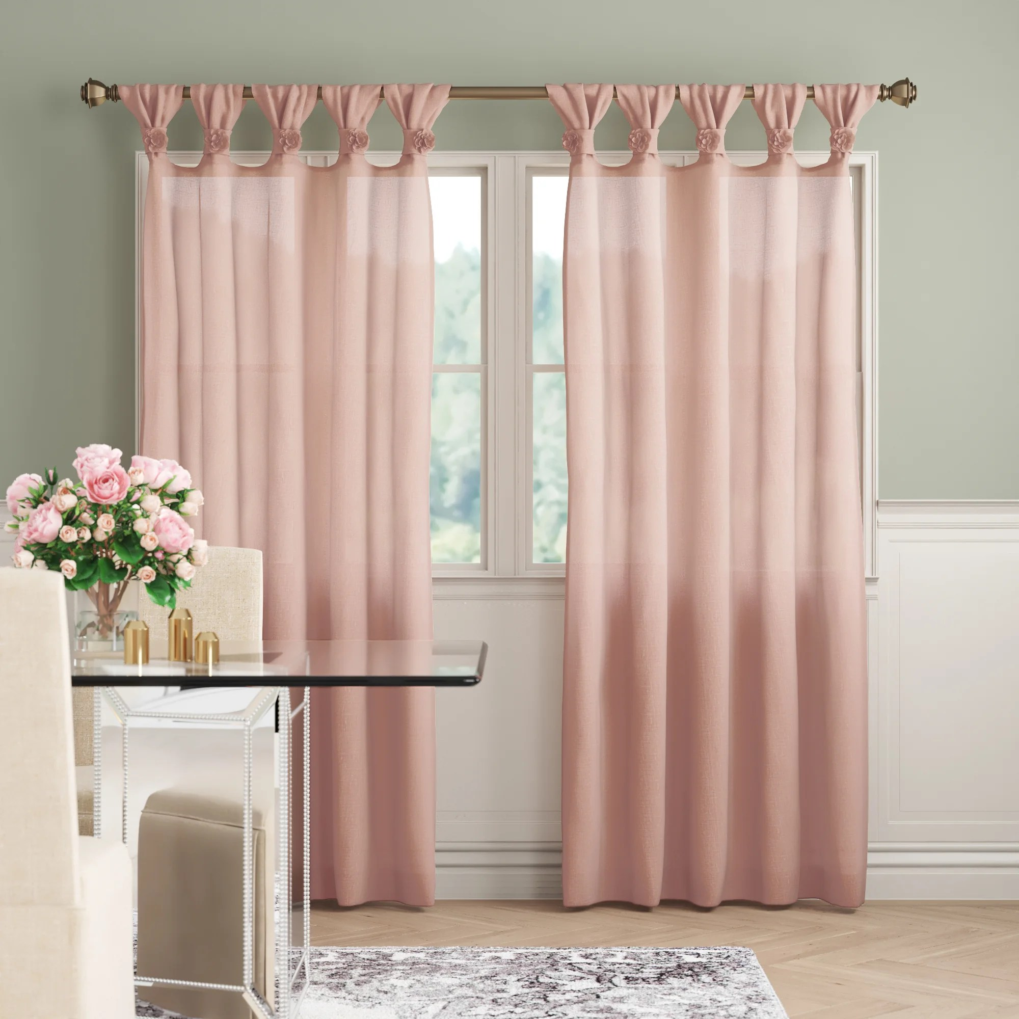 mysliwiec floral twist synthetic solid semi sheer tab top single curtain panel