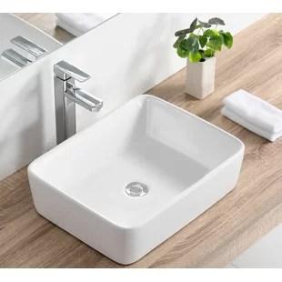 white ceramic rectangular vessel bathroom sink