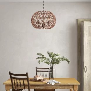 cadwell 3 light candle style globe chandelier with rope accents