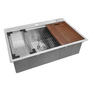 33 l x 22 w drop in kitchen sink