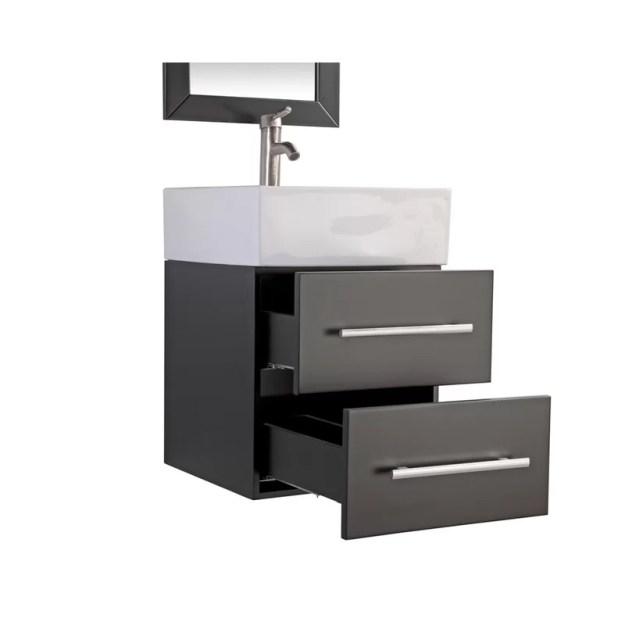 """orren ellis potvin 18"""" single sink bathroom vanity set with wood"""
