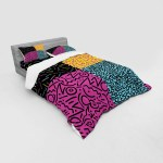 East Urban Home Ambesonne Indie Duvet Cover Set Vintage Eighties Fashion Style Patterns Colourful Funky Pop Unusual Doodles Print 4 Piece Bedding Set With Shams And Fitted Sheet Queen Size Multicolor