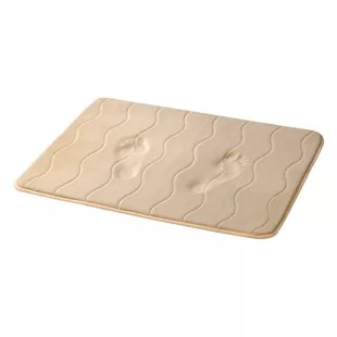 angelice taupe wave stitched bath mat