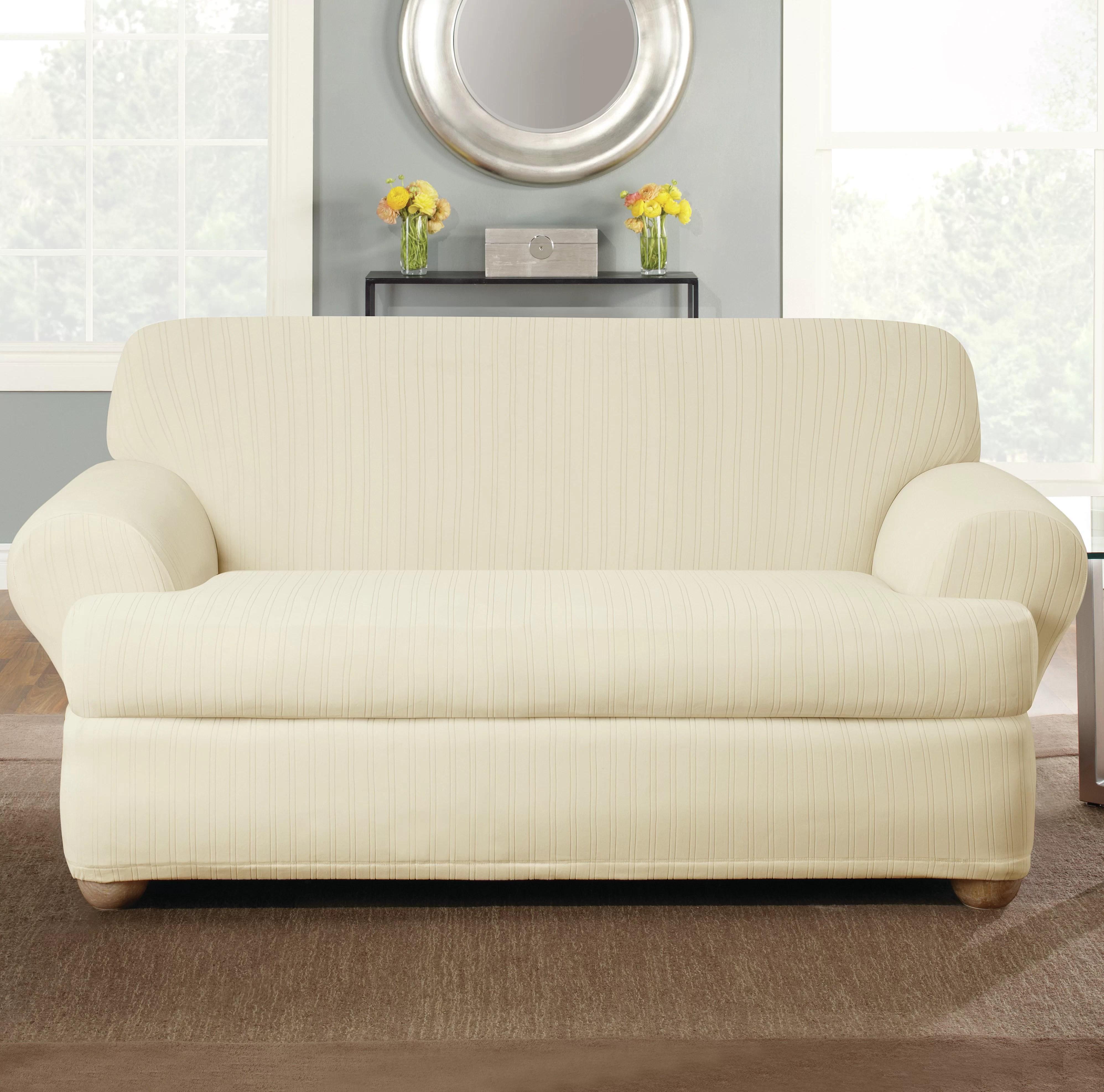slipcovers home garden sure fit stretch pinstripe t cushion two piece sofa slipcover 360idcom fr