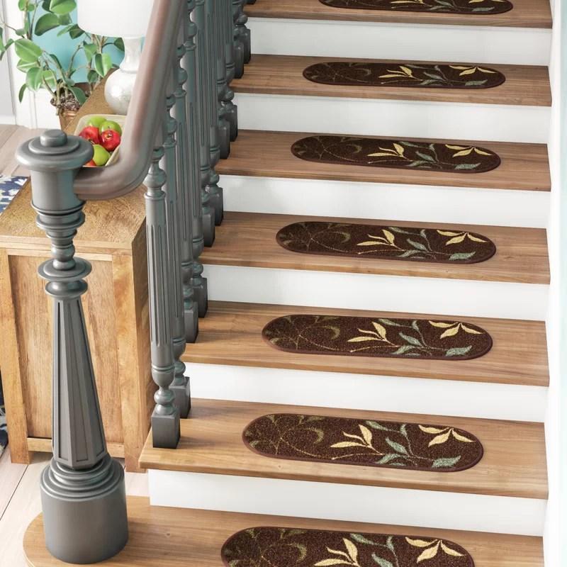 Winston Porter Arette Leaf Oval Brown Stair Tread Reviews Wayfair | Wayfair Carpet Runners For Stairs | Tucker Murphy | Brown Beige | Hallway Carpet | Wool Rug | Wall Carpet