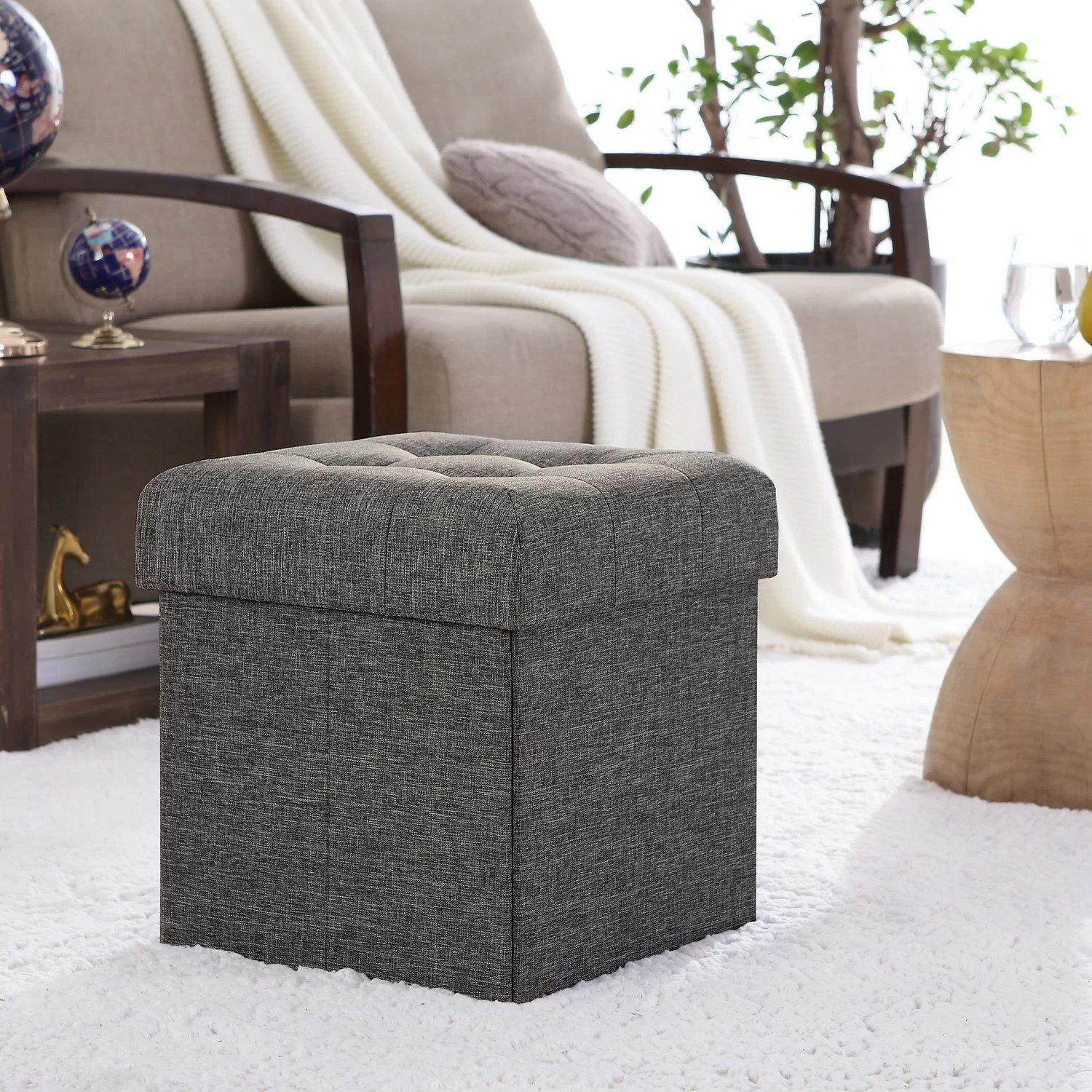 Winston Porter Lambertville Foldable Tufted Square Cube Foot Rest Storage Ottoman Reviews Wayfair