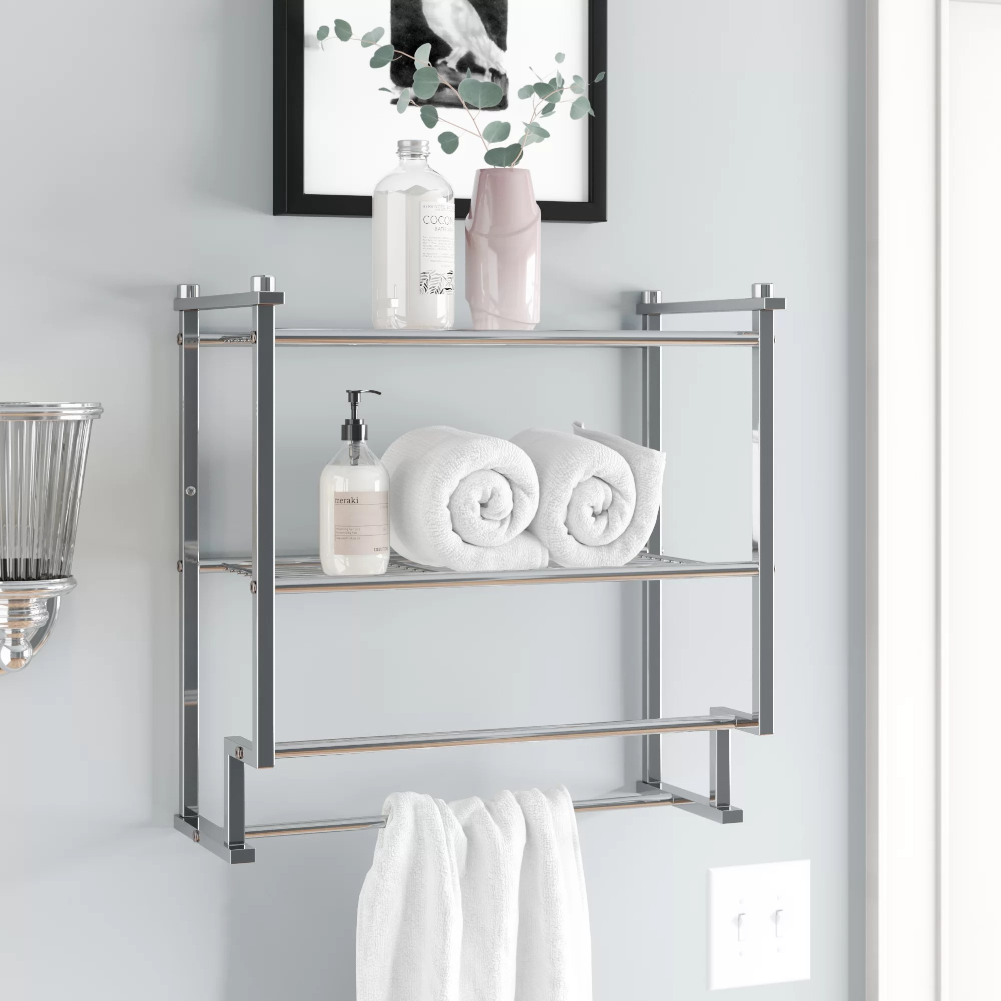 bathroom shelves with towel bar free