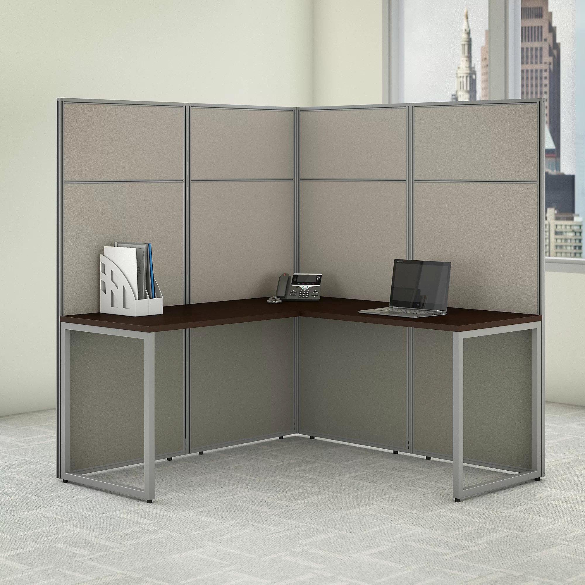 Bush Business Furniture Easy Office L Shaped Desk Workstation With Panels Cubicle Wayfair