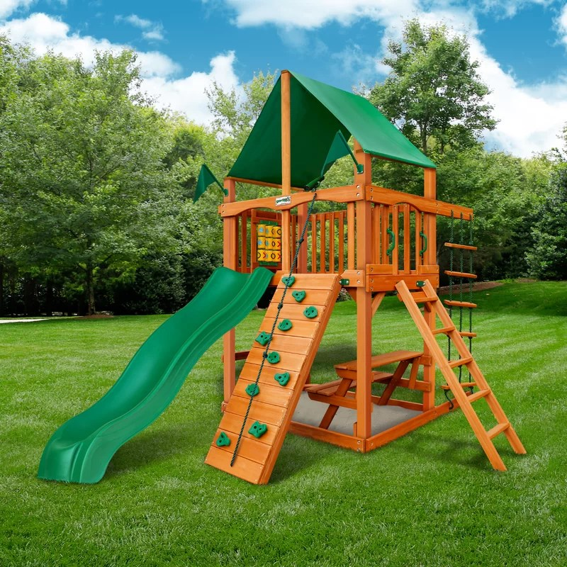 chateau tower swing set with canopy roof
