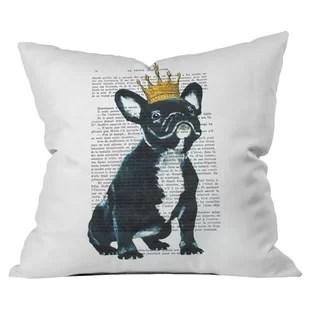 bulldog king outdoor throw pillow