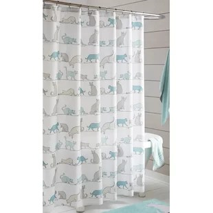 kitty cat printed cats shower curtain