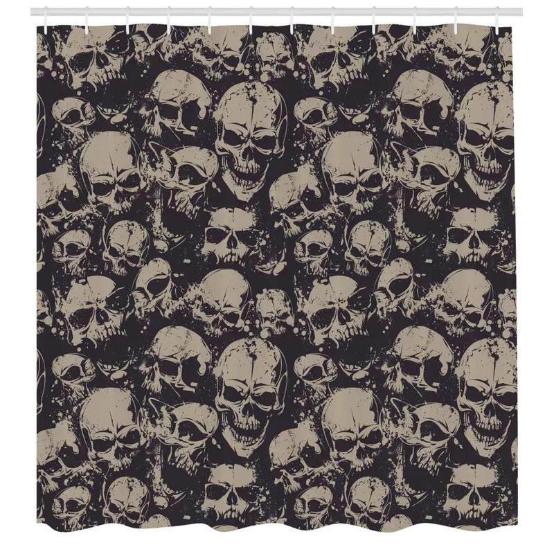 skull shower curtain set hooks