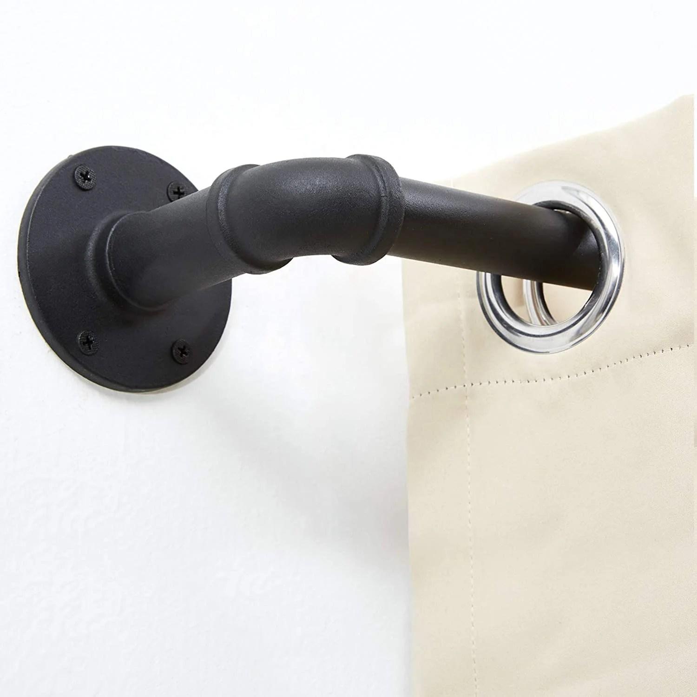 upper vobster black adjustable single curtain rod