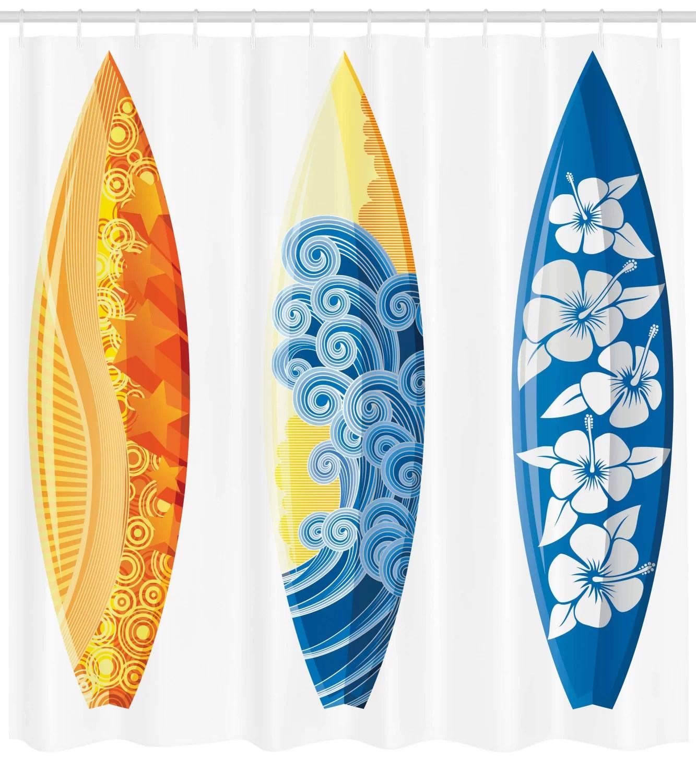 surf shower curtain set hooks