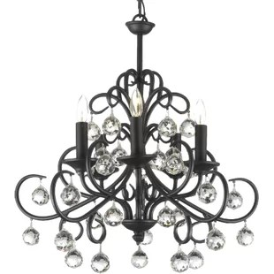 Clemence 5 Light Wrought Iron Base Crystal Chandelier