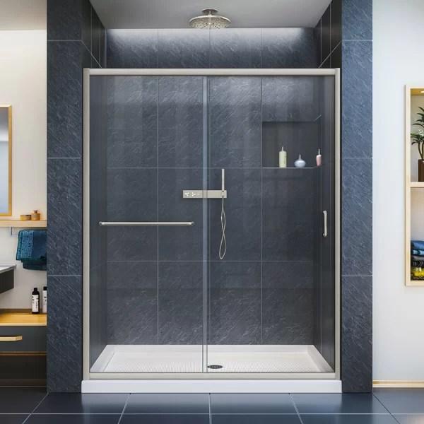 infinity z 60 w x 74 75 h semi frameless sliding shower kit
