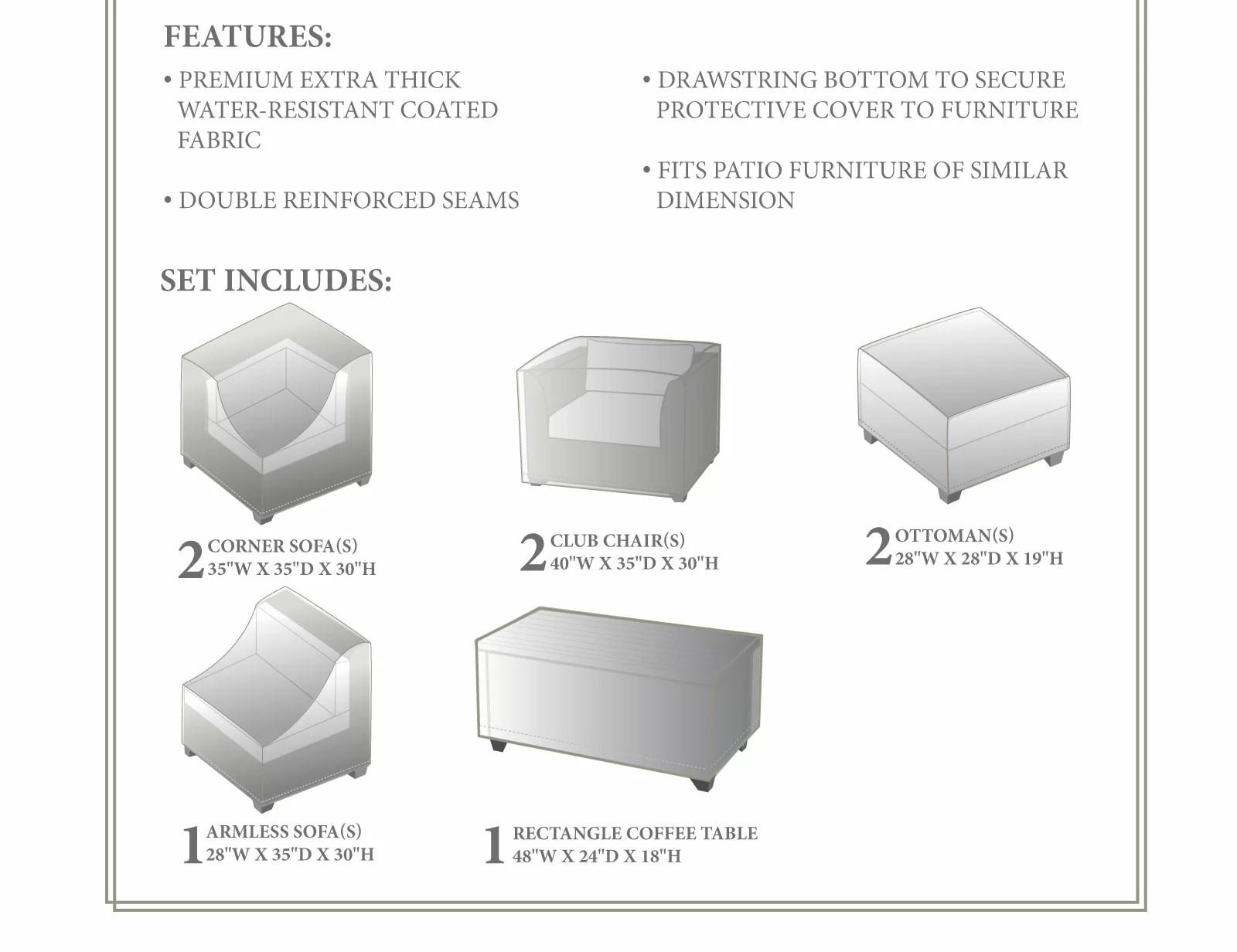 tegan 8 piece water resistant patio furniture cover set