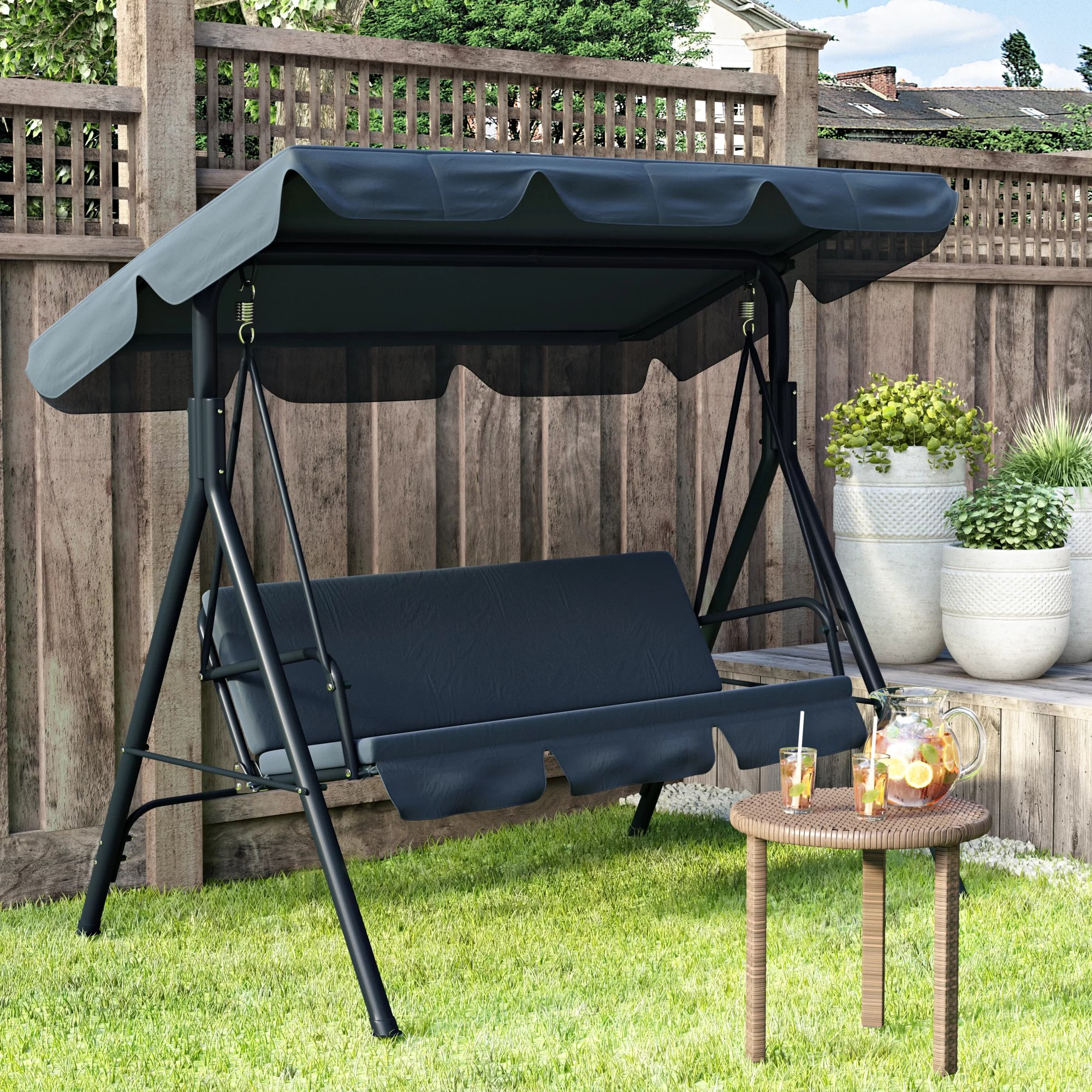 lesly fabric outdoor canopy porch swing with stand