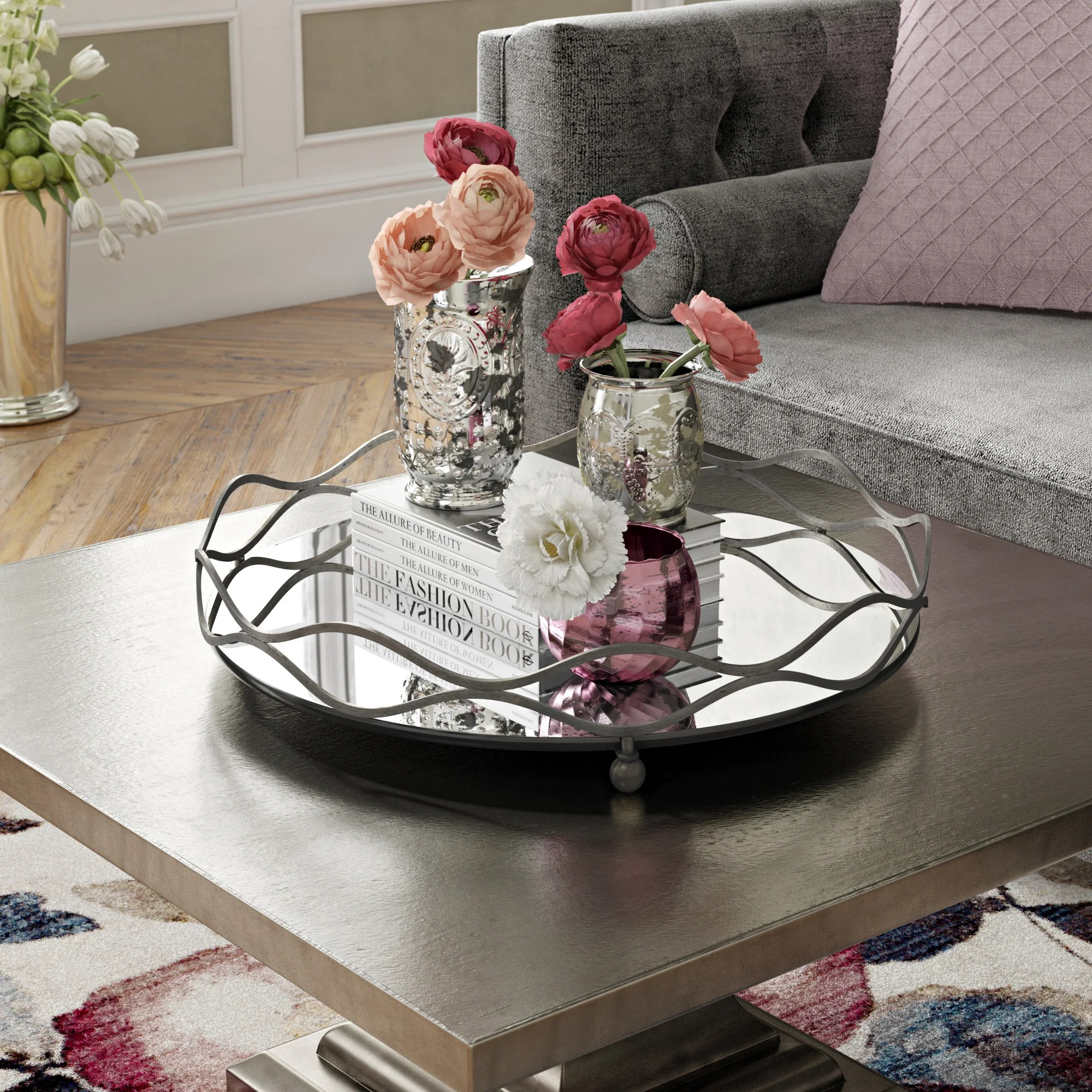 round silver decorative trays you ll