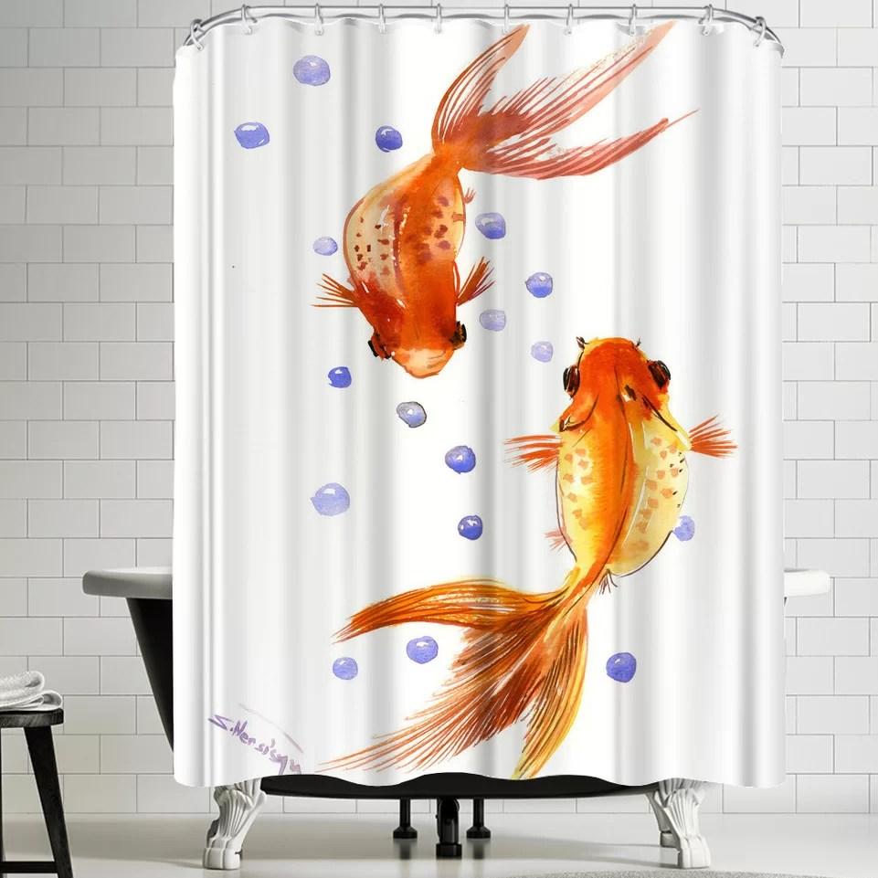 feng shui goldfish koi 1 single shower curtain