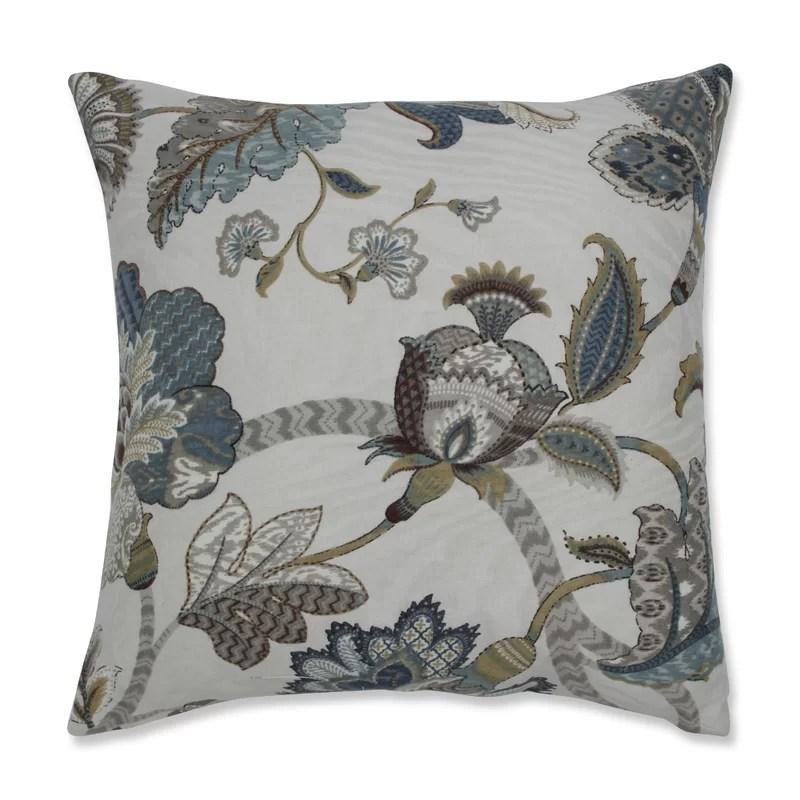 Polla Cotton Floral Throw Pillow