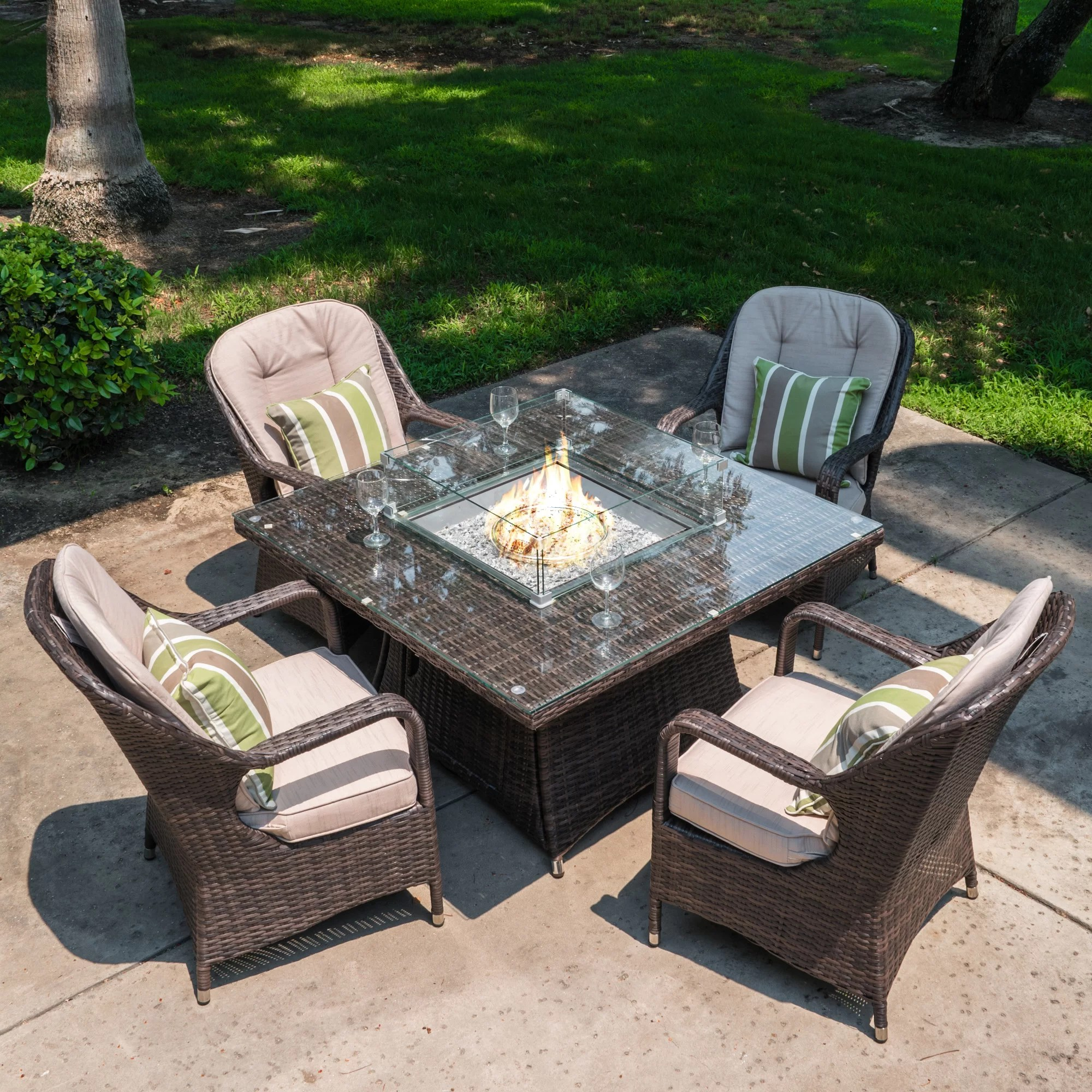 flaherty square 4 person 47 24 long dining set with cushions