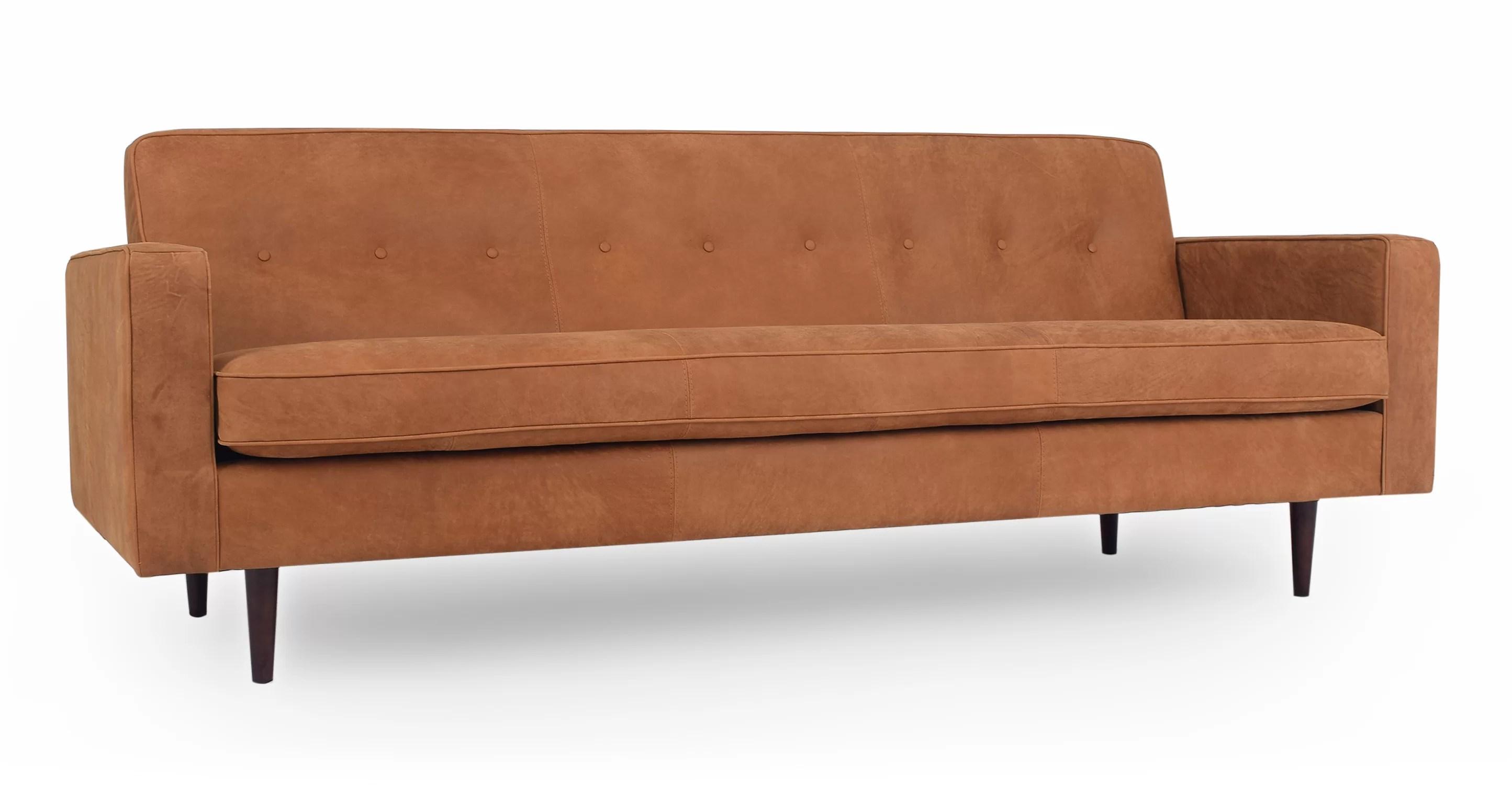 Corrigan Studio Mickey Mid Century Leather Sofa Wayfair