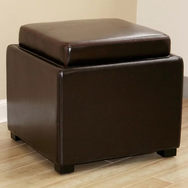 spicer leather storage ottoman