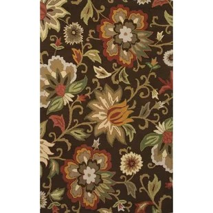Dilbeck Hand-Tufted Brown/Red Area Rug