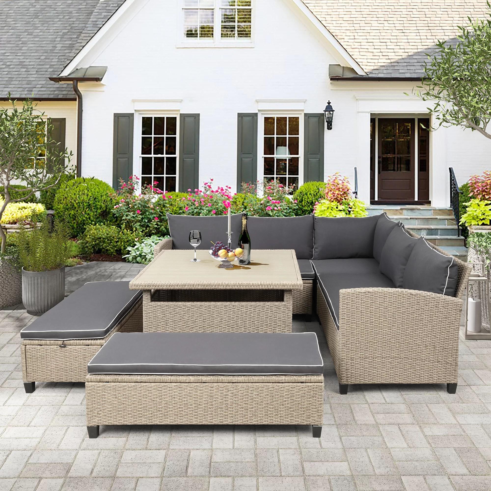 latitude run ahliana patio 6 piece rattan sofa seating group with cushions wayfair