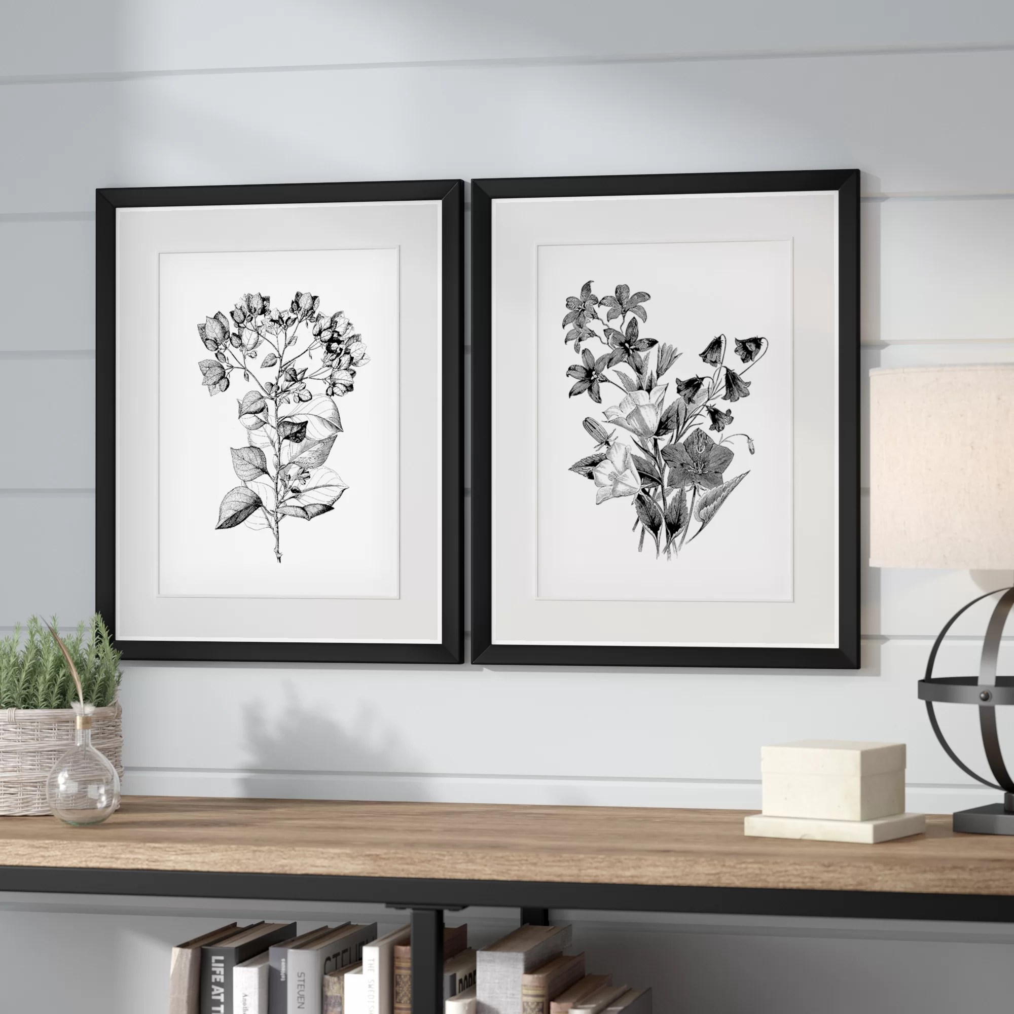 Ophelia Co Botanical Black And White 2 Piece Framed Acrylic Painting Print Set Reviews Wayfair