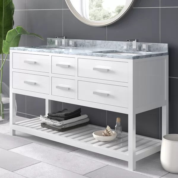 modern contemporary 61 inch double sink vanity top
