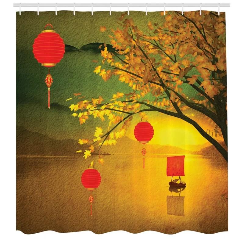 jody chinese lanterns festive shower curtain set