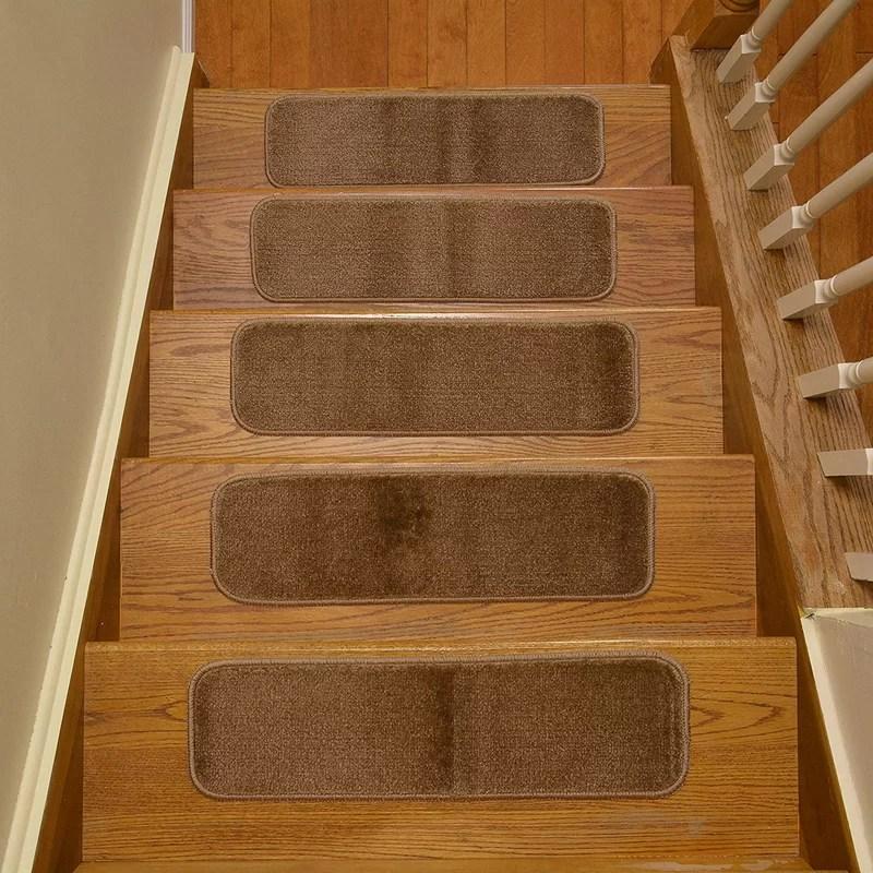 Symple Stuff Comerfo Comfy Slip Skid Stair Tread Reviews Wayfair | Wayfair Stair Carpet Runners | Textured Carpet | Rosalind Wheeler | Staircase Makeover | Treads Carpet | Brown Beige