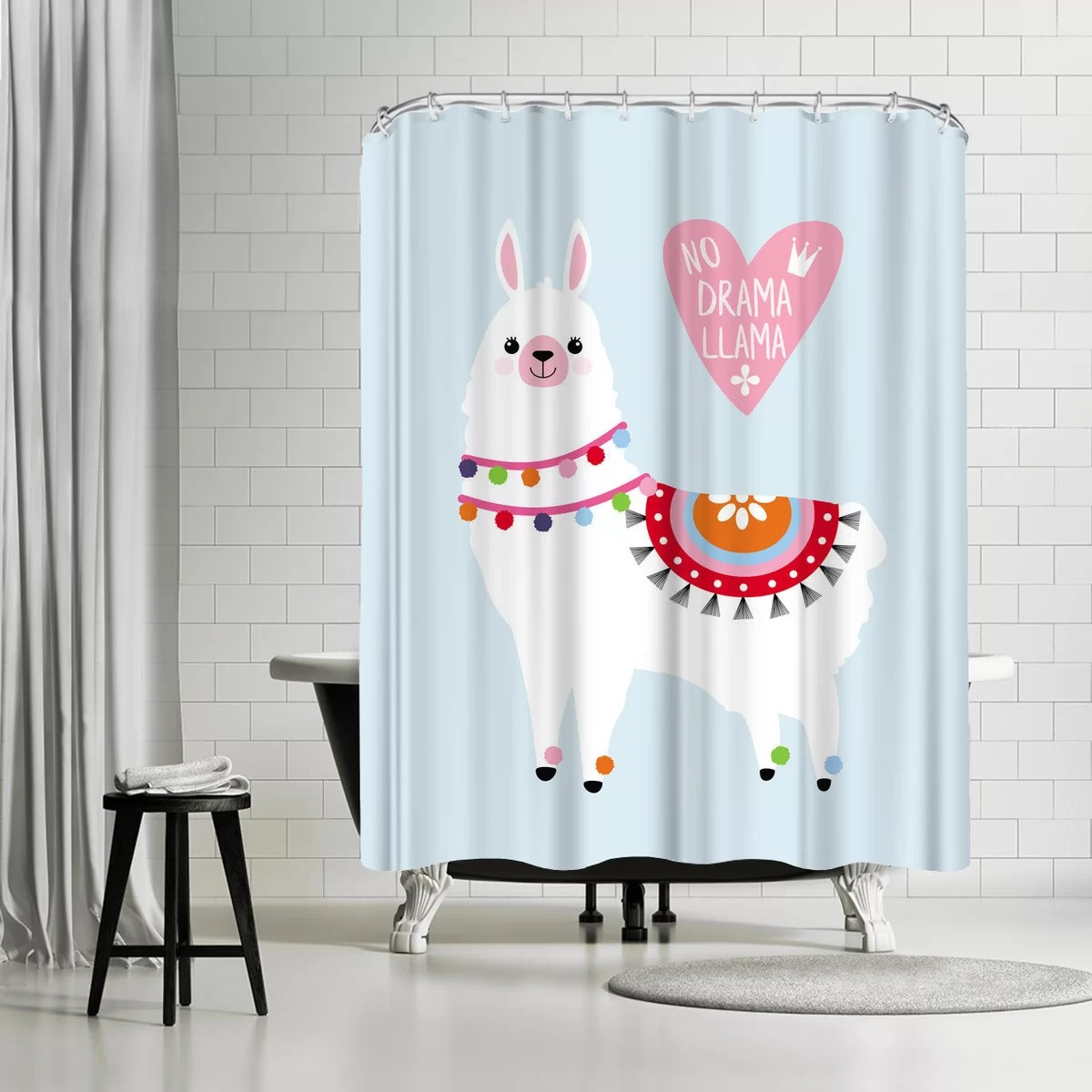 https www wayfair com bed bath pdp east urban home ikonolexi no drama llama shower curtain ebib8104 html