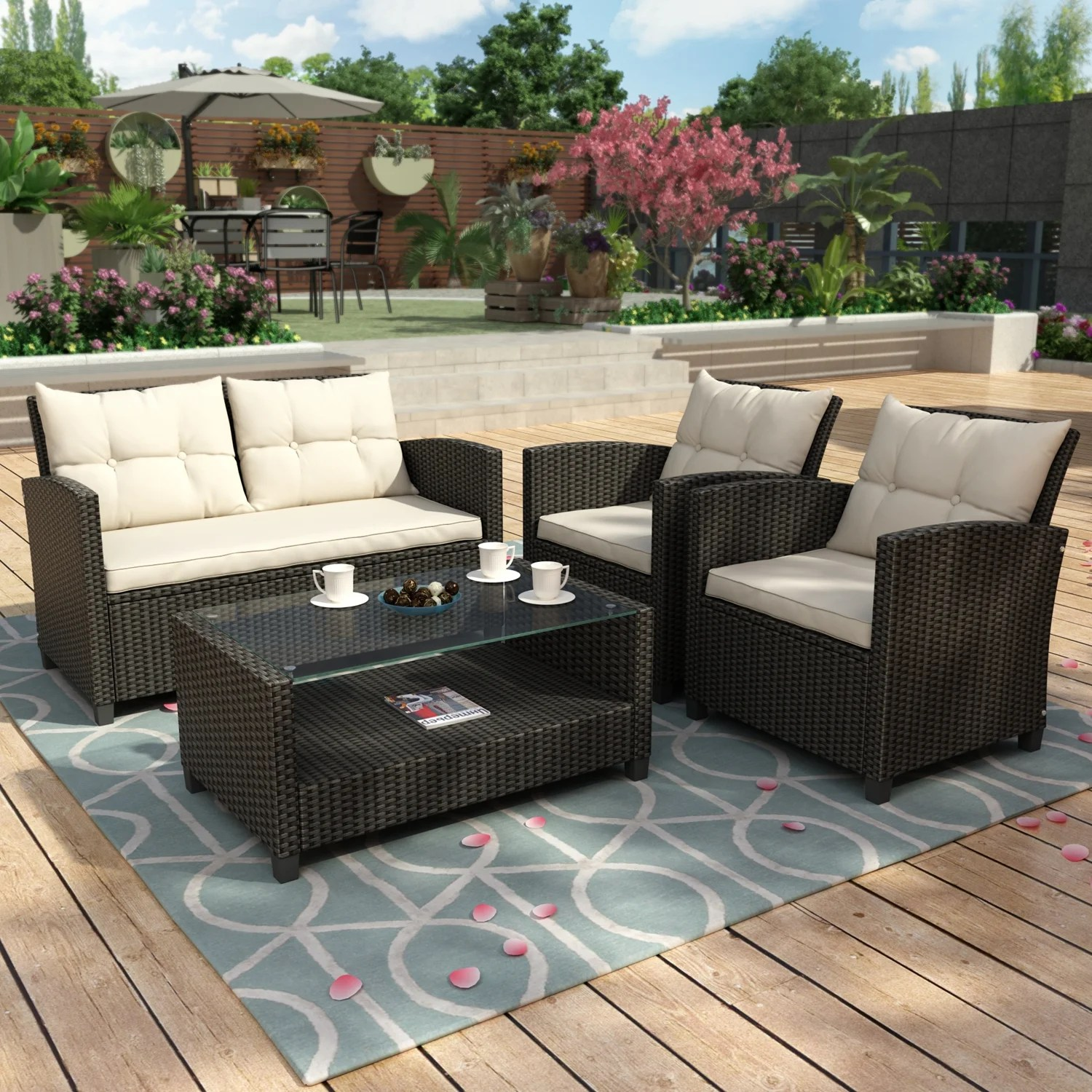 4 pieces patio furniture rattan patio conversation set for patio lawn garden outdoor chair sofa cushions and storage glass table