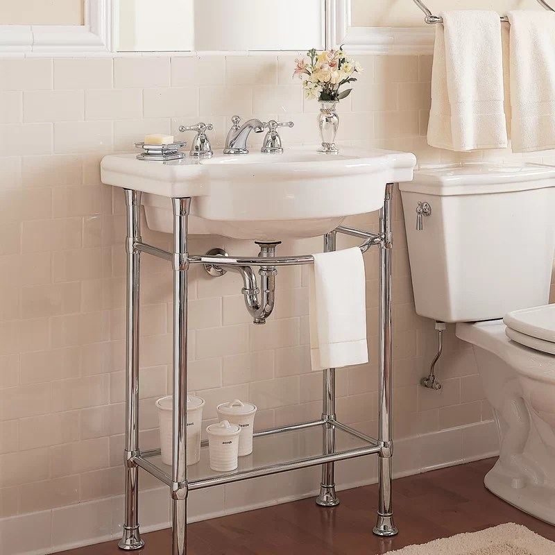 retrospect ceramic specialty console bathroom sink with overflow