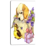Designart Cute Puppy Dog And Duck Painting Print On Wrapped Canvas Wayfair