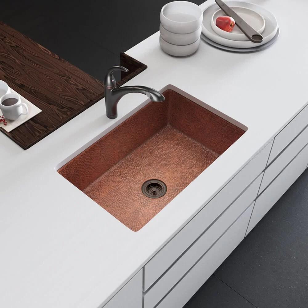 copper 33 l x 22 w undermount kitchen sink with strainer