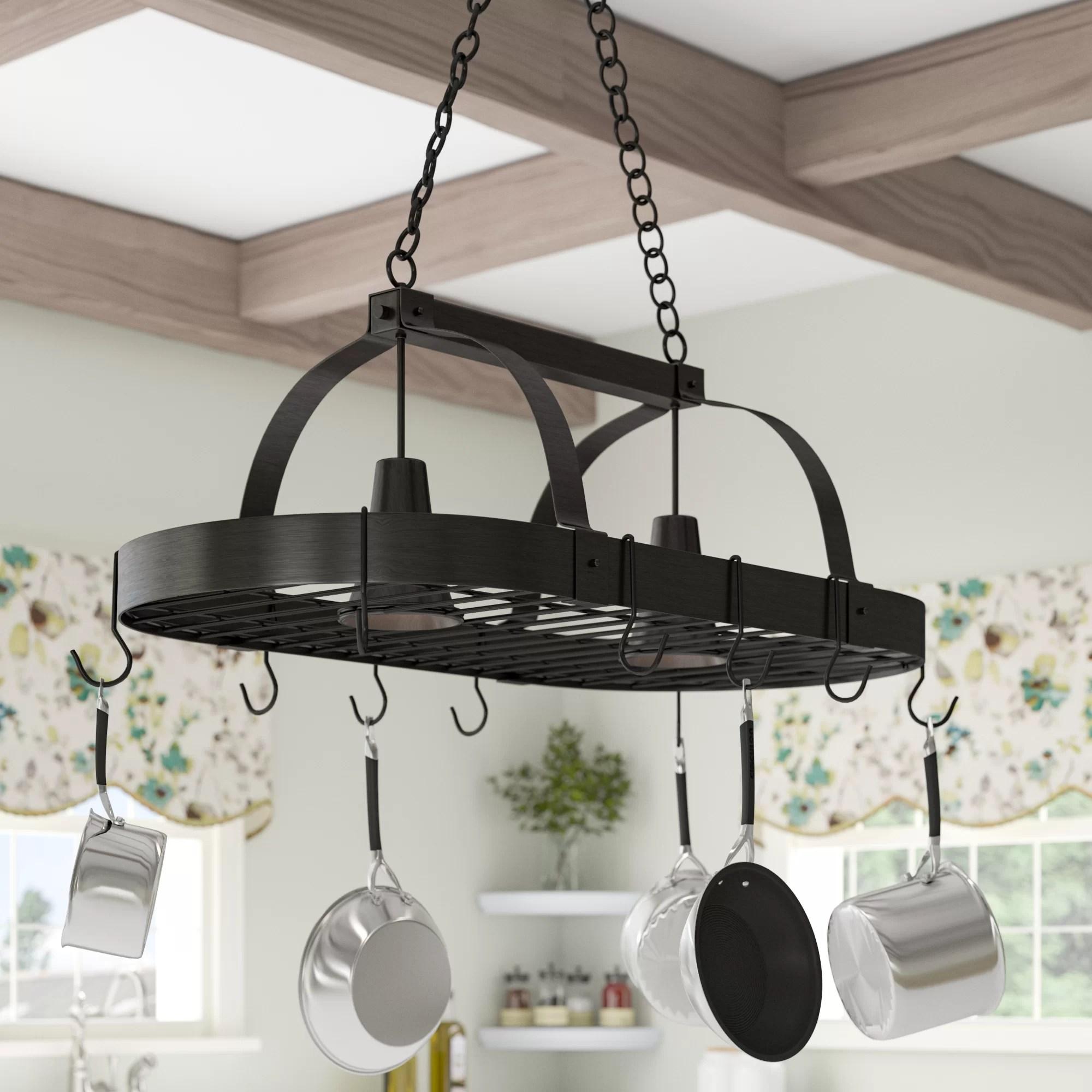 adrik 2 light kitchen hanging pot rack