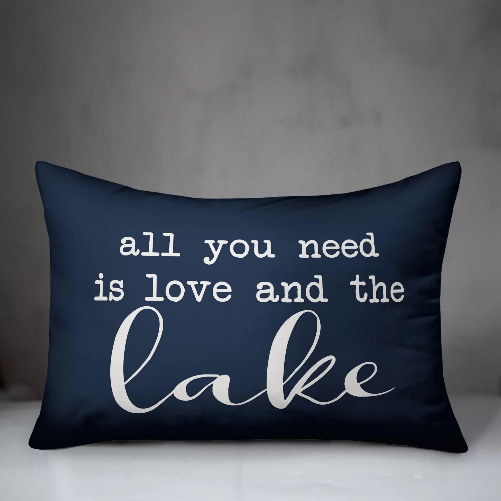 majewski all you need is love and the lake indoor outdoor lumbar pillow