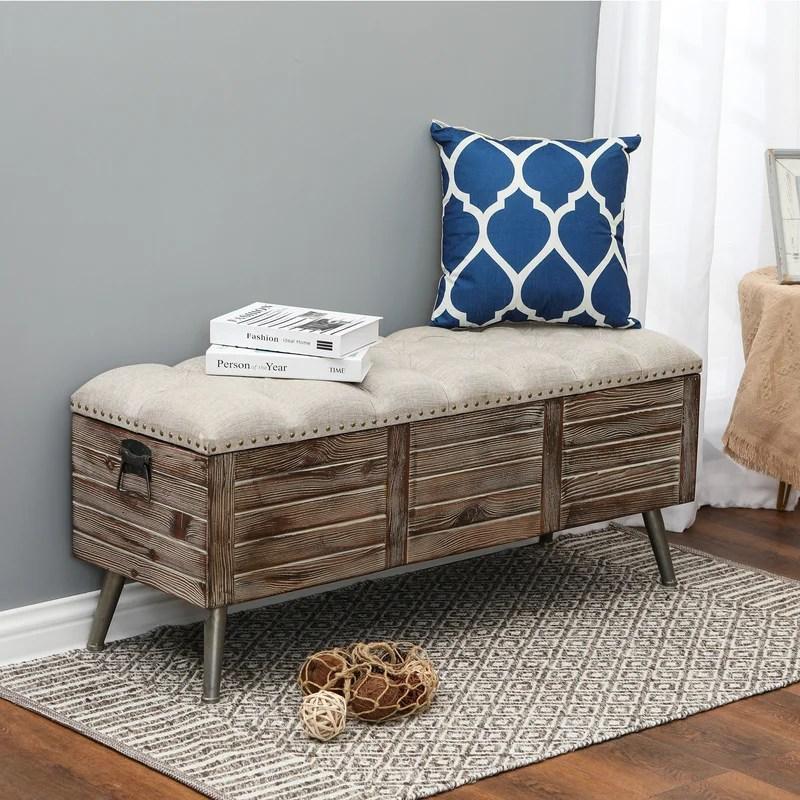 elmont wood flip top storage bench