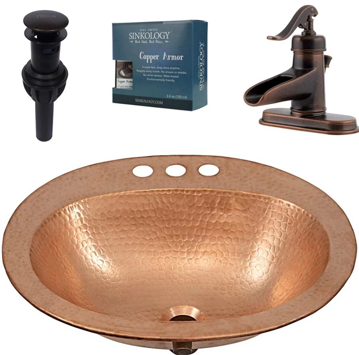 faucet hol drop in copper bathroom sink