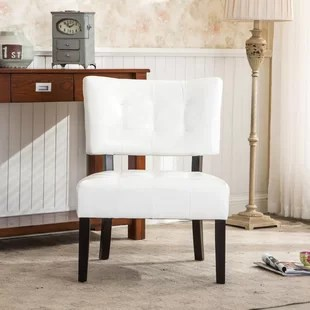 avianna 27 w tufted faux leather slipper chair