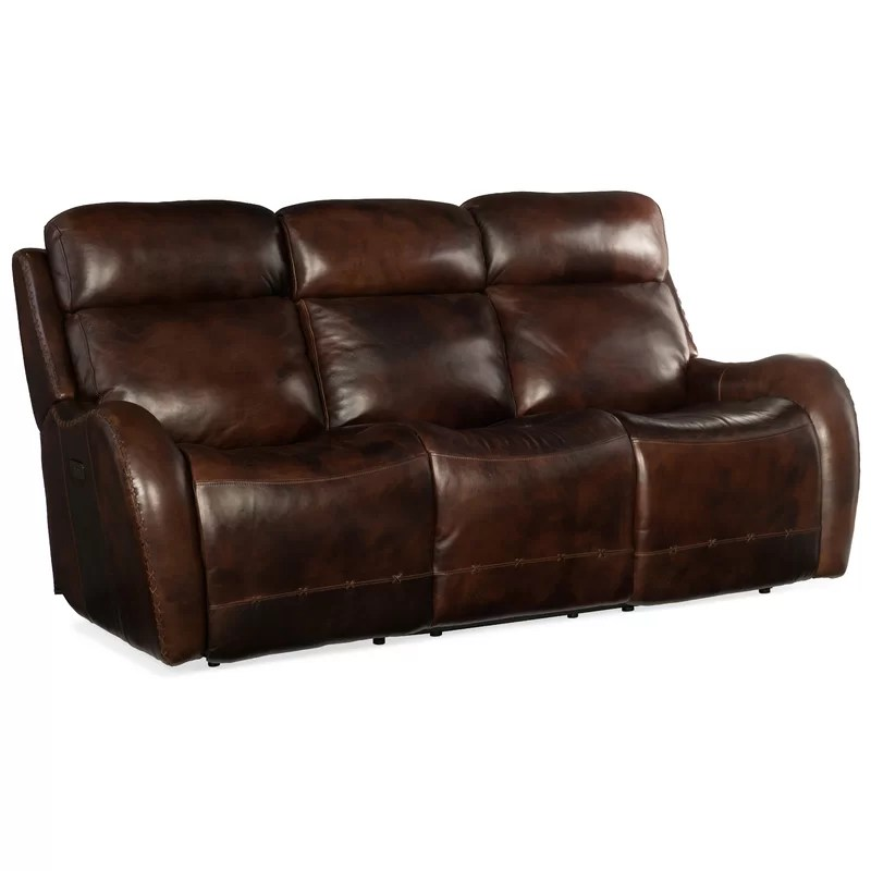 chambers 82 25 wide genuine leather round arm reclining sofa