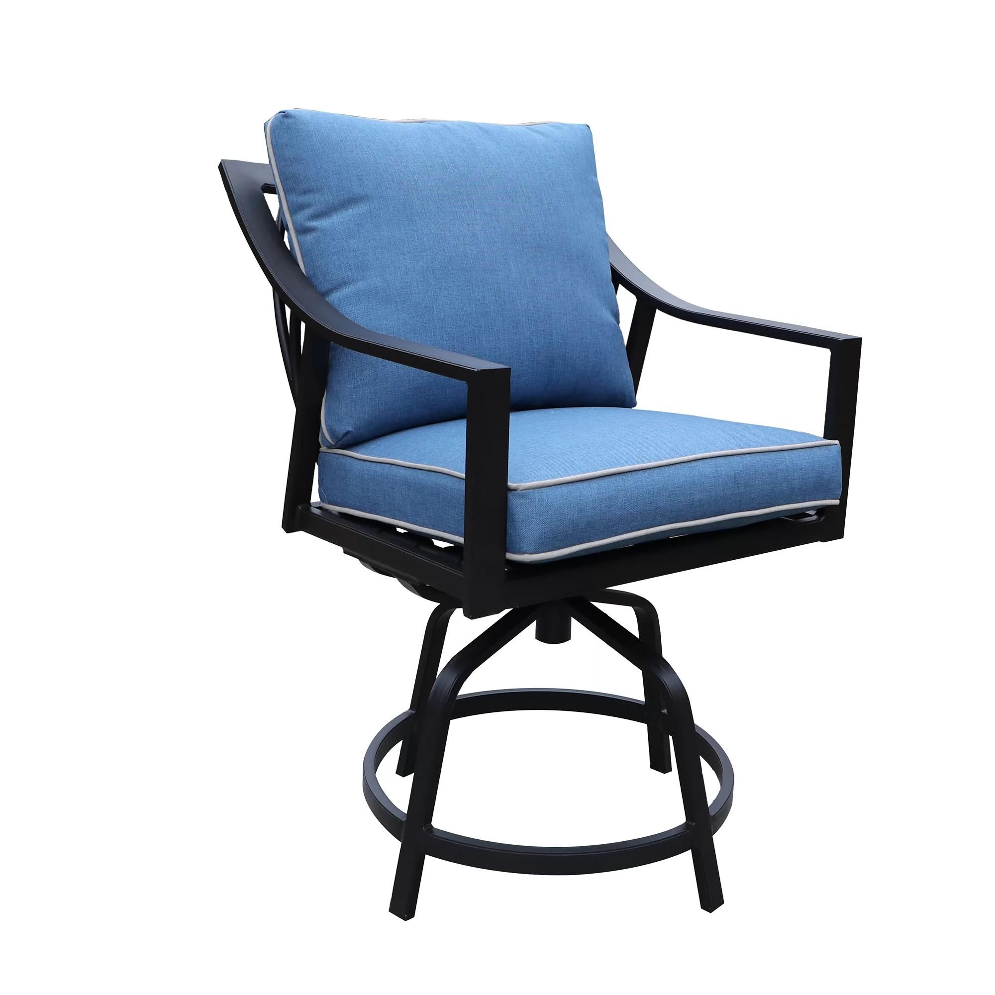 mackinnon outdoor swivel 25 patio bar stool with cushion