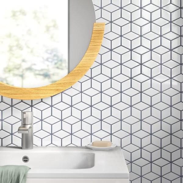 modern contemporary rhombus tile white